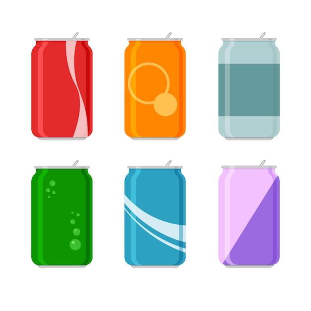 Набор мультяшной соды в алюминиевых банках. безалкогольная газированная вода с разными вкусами. напитки в цветной упаковке. шаблоны, изолированные на белом фоне. Premium векторы