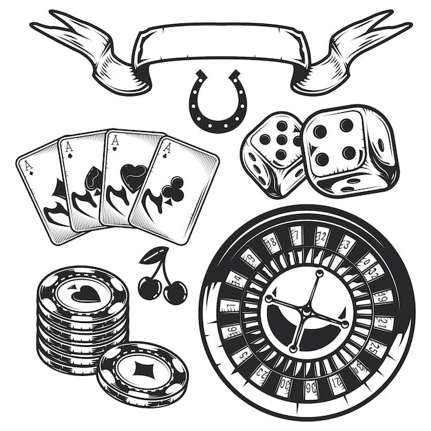 カジノ要素のセット(カード、チップ、ルーレット) 無料ベクター
