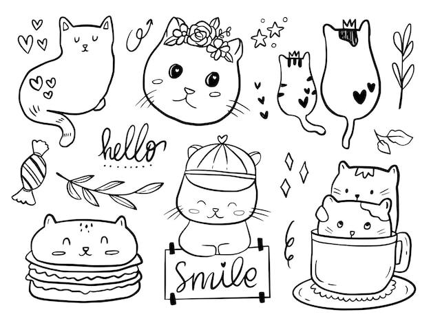 아이들을위한 고양이 커플 낙서 드로잉 만화 세트 색칠 및 인쇄 프리미엄 벡터