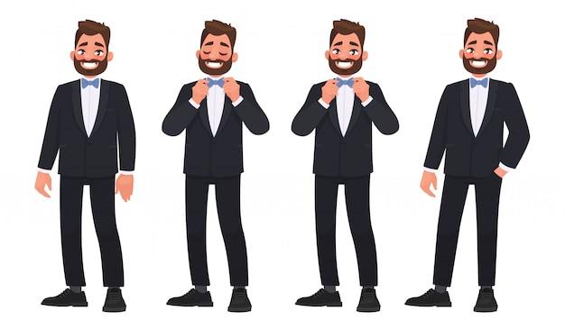 蝶ネクタイとビジネススーツのひげを生やした男の文字のセット。新郎 Premiumベクター