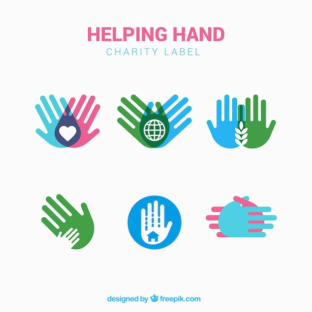 Set of charity labels with colored hands Free Vector