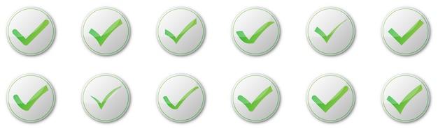 白い背景の上のチェックマークボタンのセットです。図。影付きの緑の承認済みアイコン Premiumベクター