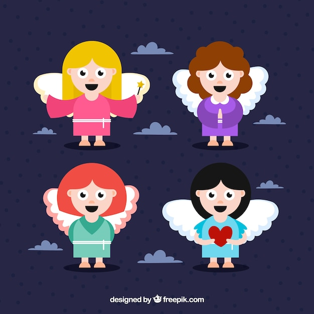 Set of cheerful angels in flat design