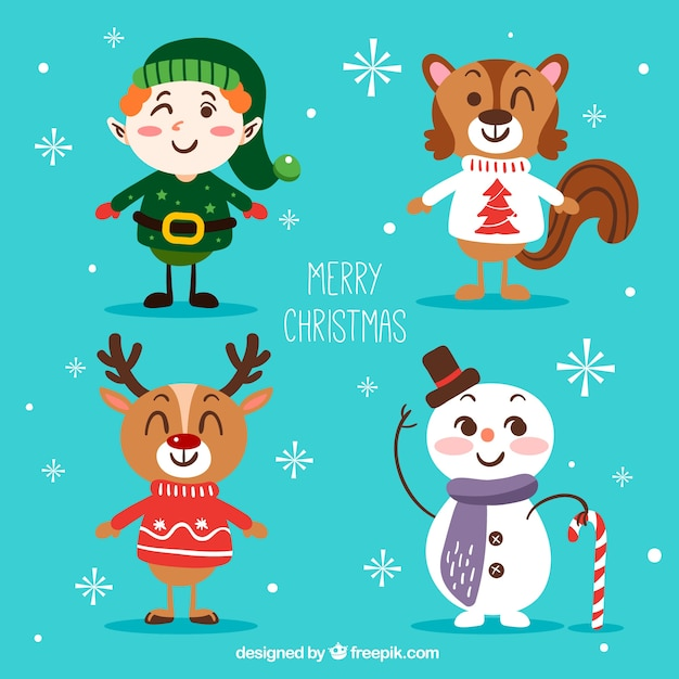 Set of cheerful christmas characters