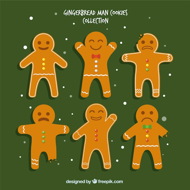 Set of cheerful gingerbread cookies