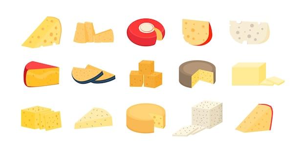Набор сырных колес и ломтиков, изолированные на белом фоне. различные сорта сыра. современные плоские реалистичные иконки. свежий пармезан или чеддер. Premium векторы