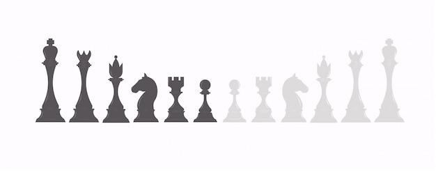 黒と白の色のチェスフィギュアのセット。チェスの駒のコレクション:キング、クイーン、ルーク、ビショップ、ポーン、ナイト。 Premiumベクター