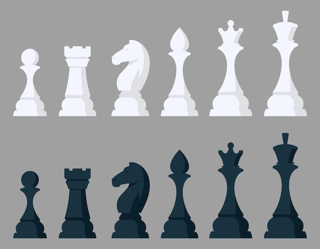 チェスの駒のセットです。漫画のスタイルの黒と白のオブジェクト。 Premiumベクター