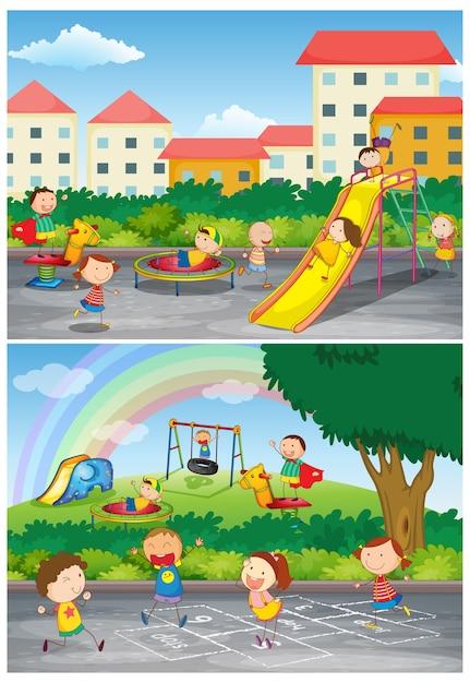 Набор детей на детской площадке Бесплатные векторы