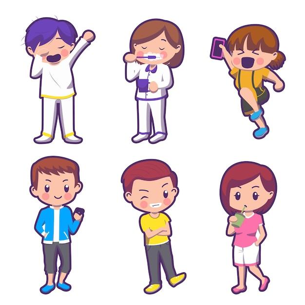 흰색 backtground, 고립 된 그림에 일상 생활 만화 캐릭터 어린이 세트 무료 벡터