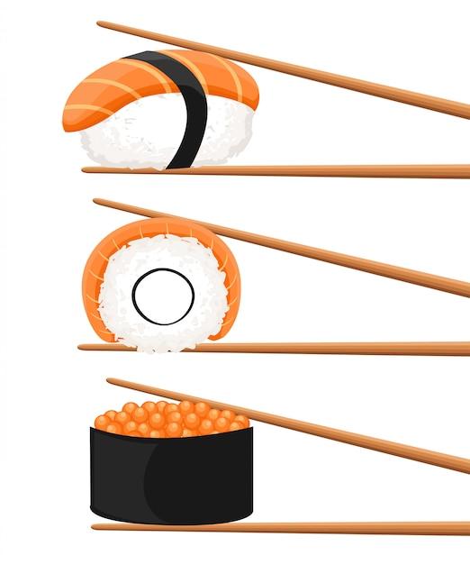 寿司ロールを保持している箸のセット。スナック、susi、エキゾチックな栄養、寿司レストラン、シーフードのコンセプトです。白い背景の上。スタイルトレンドモダンなロゴタイプの図 Premiumベクター