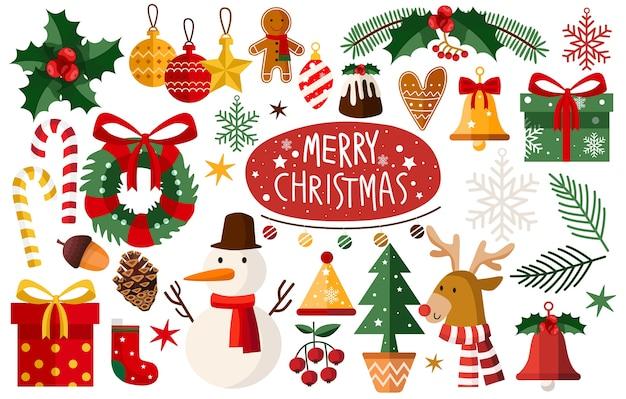 クリスマスアクセサリーのセット Premiumベクター