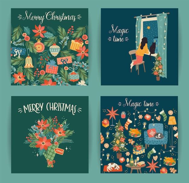 クリスマスと新年あけましておめでとうございますカードのセット、クリスマスのシンボル、甘い家、女性 Premiumベクター
