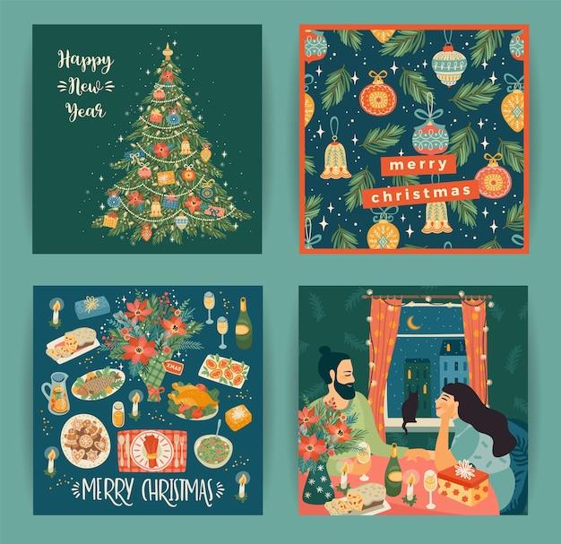 トレンディな漫画スタイルのクリスマスと新年あけましておめでとうございますのイラストのセット Premiumベクター