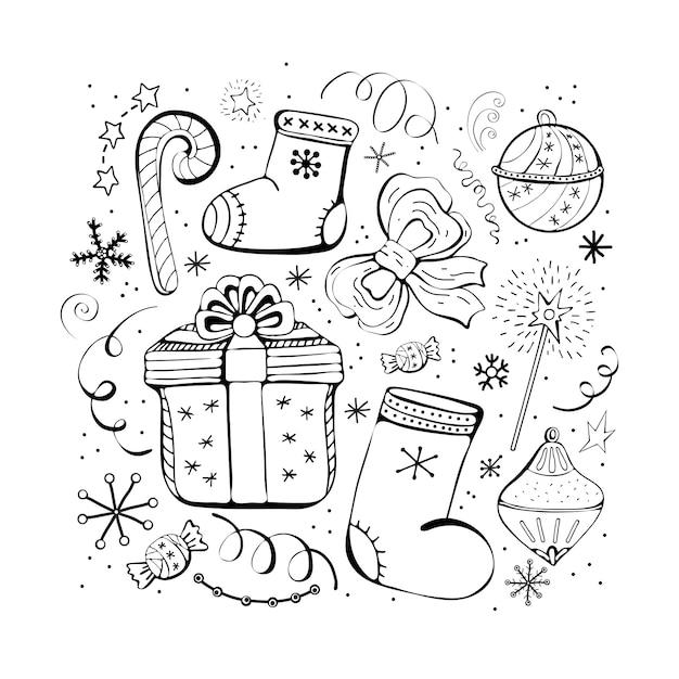 Набор рождественских и новогодних зимних иконок. конфеты, подарок, снежинки, сапоги, бантик, елочные игрушки, серпантин, гирлянда. набор рисованной монохромный, черно-белый набор. Premium векторы
