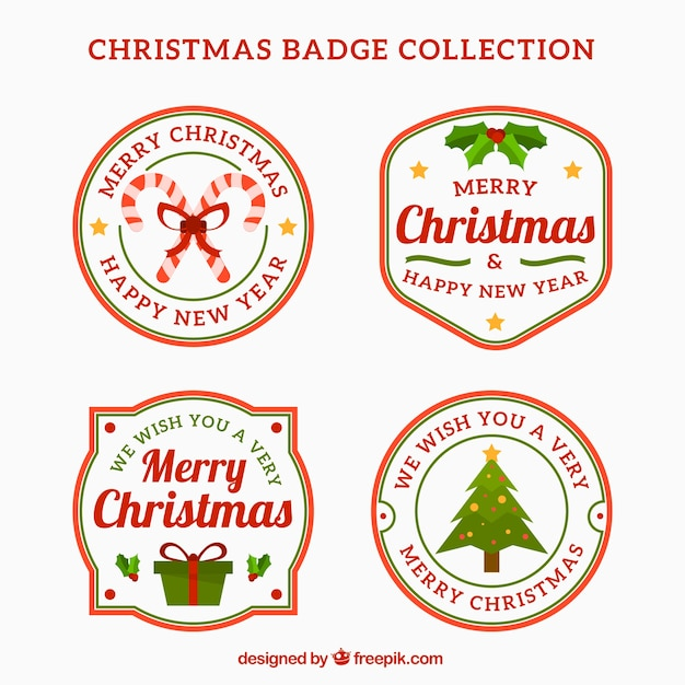 Set of christmas badges in retro style