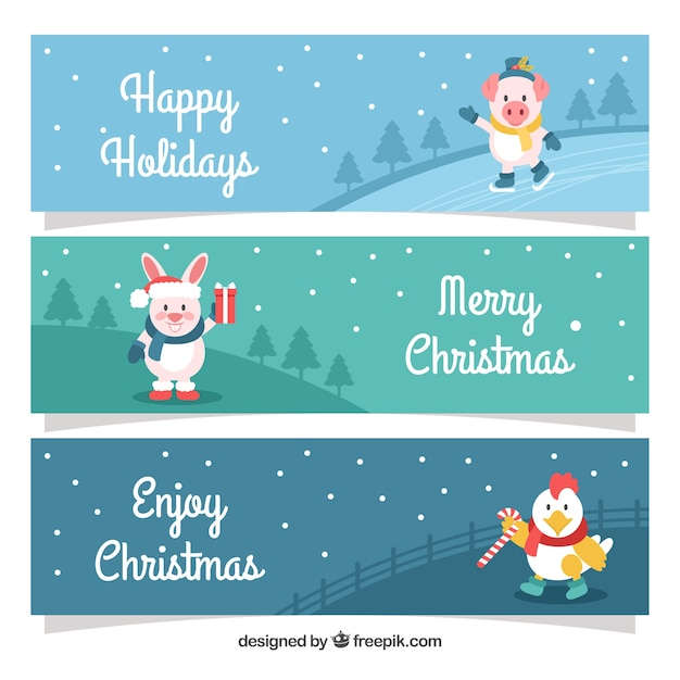Set of christmas banners with nice animals