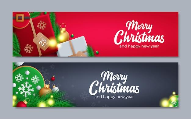 クリスマスバナーのセット Premiumベクター