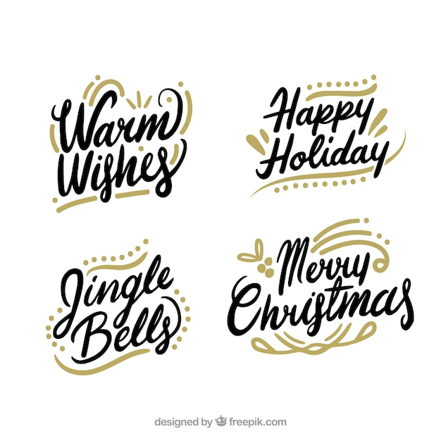 Set of christmas calligraphic lettering Free Vector