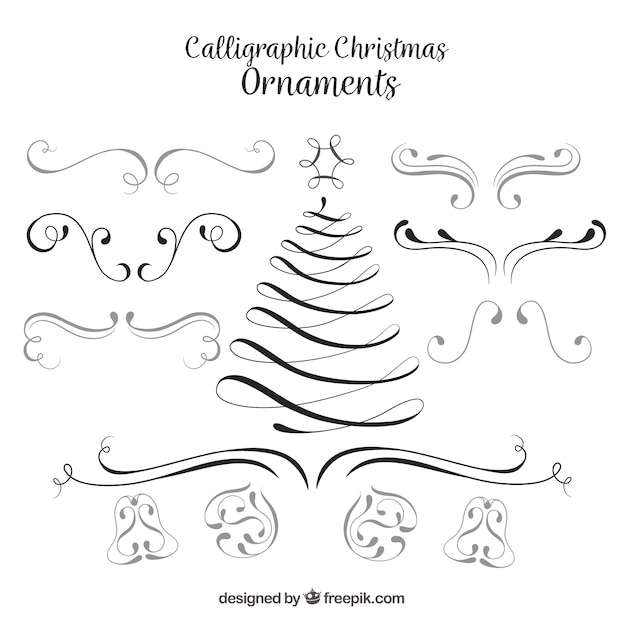 Set Of Christmas Calligraphic Ornaments Free Vector