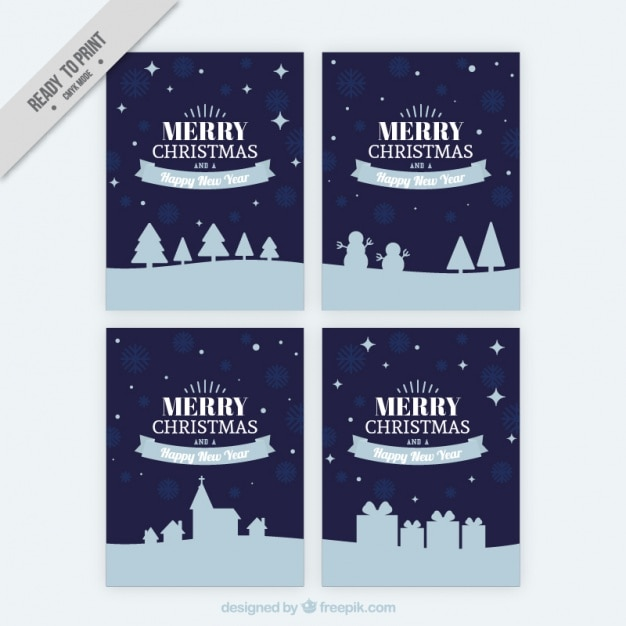 Set Of Christmas Cards In Vintage Style Free Vector