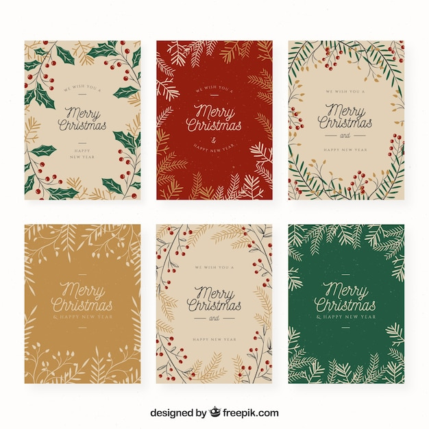 Set of christmas cards Free Vector