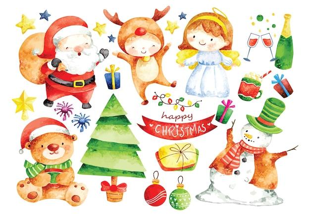 Набор рождественских мультипликационных персонажей в акварели Premium векторы