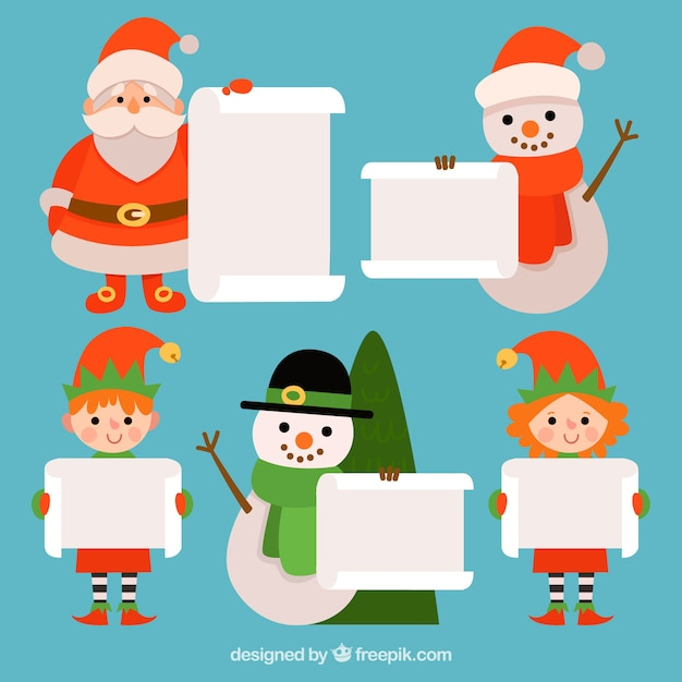 Set of christmas characters with letter
