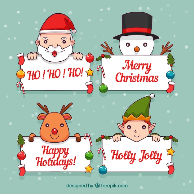 Set of christmas characters with poster Vector