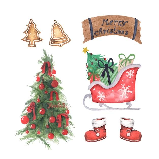 クリスマスの飾りのセット。白い背景の上の水彩要素。 Premiumベクター