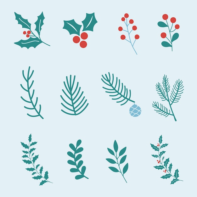 Набор элементов дизайна рождественских элементов Бесплатные векторы