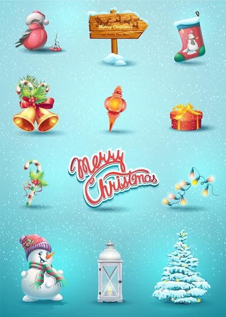 Набор новогодних элементов с игрушкой, рябиной, шлюмберже, снеговиком, елкой, указателем, конфетой, фонариком, гирляндой Premium векторы