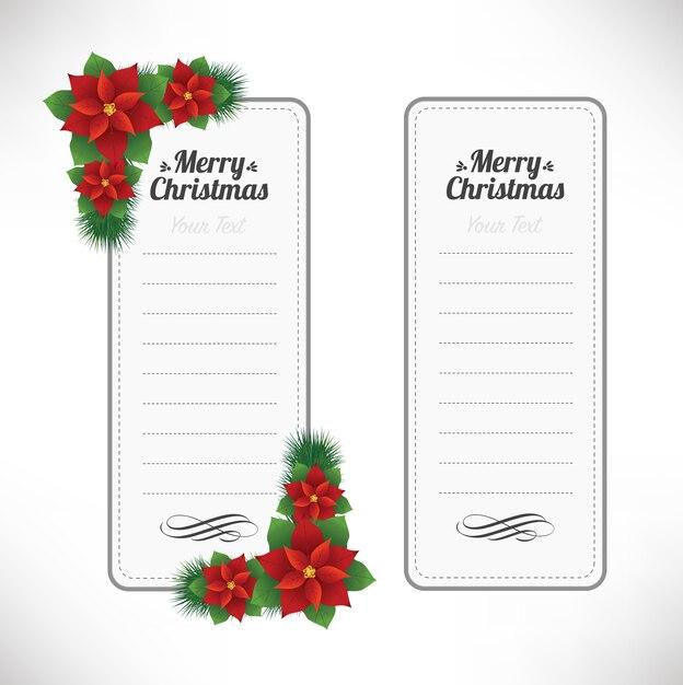 白で隔離のクリスマスフラワーラベルのセット Premiumベクター