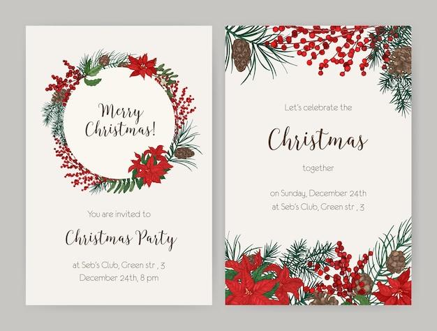 Набор рождественских флаеров или шаблонов приглашений на вечеринку, украшенных ветками и шишками хвойных деревьев, листьями и ягодами падуба, пуансеттия Premium векторы