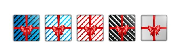 クリスマスギフトボックステンプレートのセット Premiumベクター