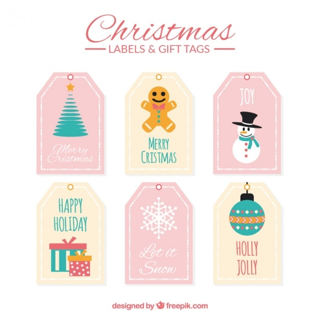 set of christmas gift tags vector free download