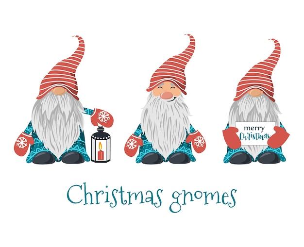 Набор рождественских гномов Premium векторы