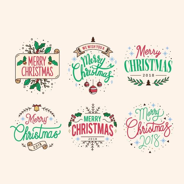 Набор векторов вектора рождественских приветствий Бесплатные векторы