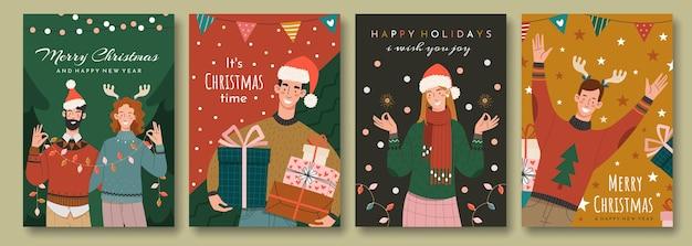 Набор рождественских открыток в стиле ретро. с праздником поздравляют счастливые люди. Premium векторы