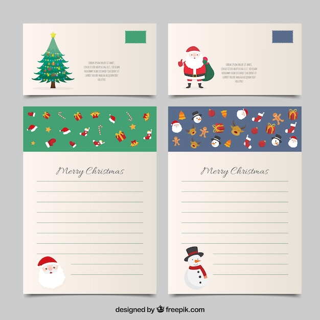 Set of christmas letter templates and envelopes Vector | Free Download