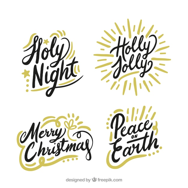 Set of christmas lettering  Free Vector
