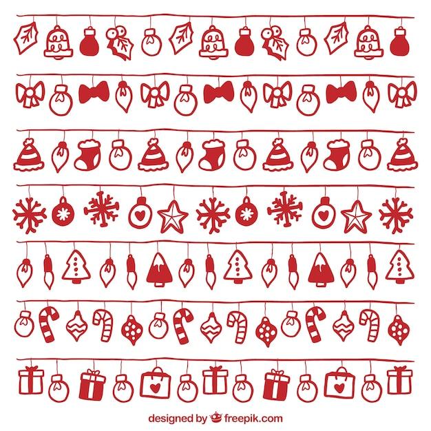Набор рождественских огней с красными рукописных объектов Бесплатные векторы