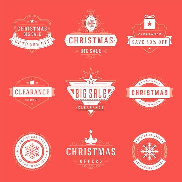 クリスマスのロゴ、エンブレム、バッジのセット。ヴィンテージの装飾品の装飾。 Premiumベクター