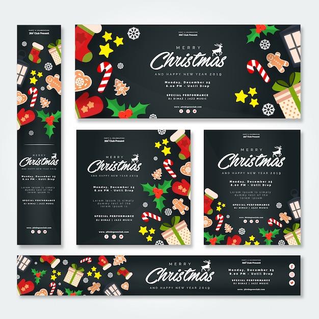 Комплект рождественской вечеринки и нового года с баннерами и брошюрой Premium векторы