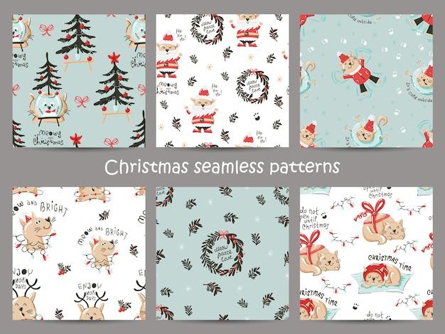 面白い猫とクリスマスのシームレスなパターンのセットです。 Premiumベクター