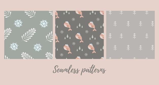 아기 고래와 함께 크리스마스 완벽 한 패턴의 집합 프리미엄 벡터