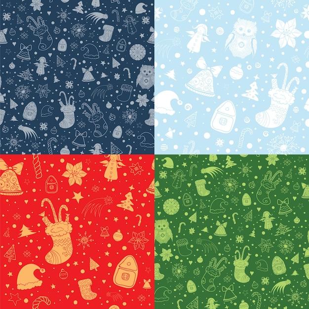 크리스마스 특성으로 크리스마스 완벽 한 패턴의 집합입니다. 빨강, 녹색 및 파랑의 실루엣 및 윤곽선 모양 프리미엄 벡터