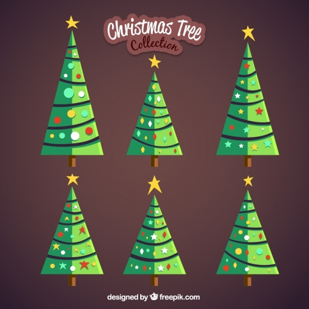 Set of christmas trees in flat design Free Vector