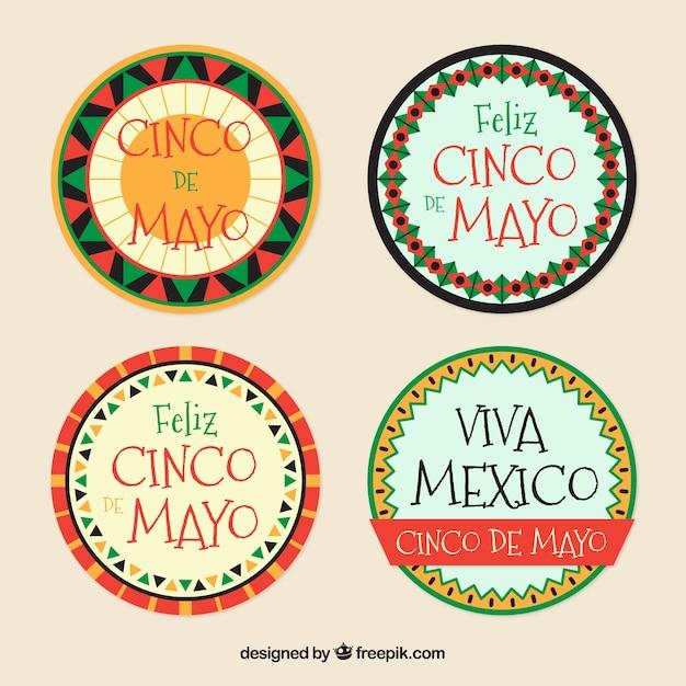 Set of cicno de mayo december decorative stickers Free Vector