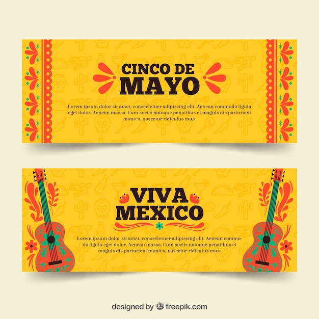 Set of cinco de mayo banners with traditional elements  Free Vector